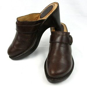 Born Brown Leather Mules Clogs Heels Slides Wedge